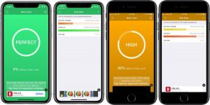 Carrellata di varie schermate dell'App BAttery Life per iPhone