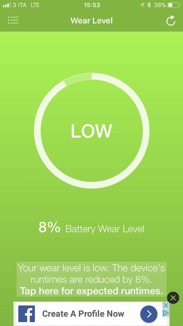 La schermata iniziale dell'app per verificare lo stato di usura della batteria iphone